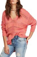 Free People Womens Hot Tropics Pullover Sweater Pink Orange Small NWT $128