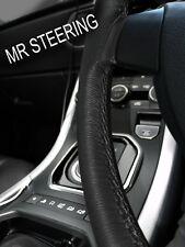 Para Peugeot 206 1998-2011 Cubierta del Volante Cuero Verdadero Doble Puntada Negro