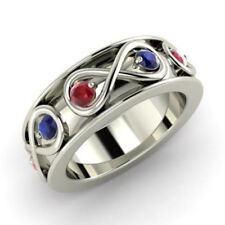 0.80 Ct Natural Sapphire Ruby Wedding Band 14K Solid White Gold Size I J K L M N