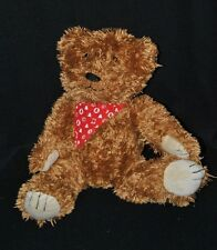 Peluche doudou ours brun marron LULU CASTAGNETTE foulard rouge 24 cm assis TTBE