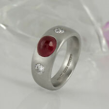 Ring Niessing in 950/- Platin 1 Rubin ca 2,4 ct + 2 Diamanten ca 0,40 ct Gr. 54