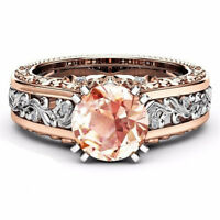 18K Gold Filled Women White Topaz Morganite Wedding Engagement Ring Gift Sz6-10