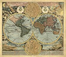 1716 Historic Celestial Old World Exploration Map Poster - 24x28