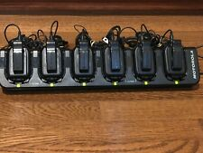 Set of 6 Motorola CLP1010 UHF Two Way Radios, 6-Bay Charger + Earpiece + more