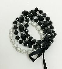 NEW SET OF 4 BLACK,PAVE CRYSTAL BEADS+WHITE PEARL ELASTIC STRETCHY BRACELET