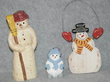 "Lot Christmas Ornaments Snowman Figure 6+"" Teena Flanner 3"" Snow Buddies 5"" Wood"