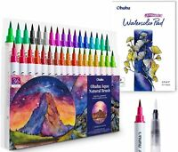 Ohuhu 36 Professional Watercolor Brush Markers Pens with 12-Sheet Pad & A Brush