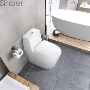 """Sinber 27'' x 14'' x 29"""" Cotton White One Piece Bathroom Toilet With Dual Flush"""