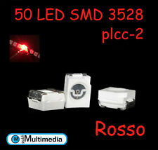 50 Led smd 3528 Plcc-2 Colore Rosso  620-630nm 200-300mcd
