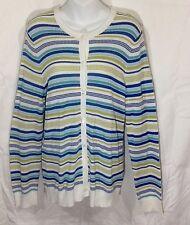 Pendleton Womens White Green Striped Cardigan Size L Button Front