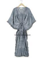 Anokhi Vintage Hand Block Print 100% cotton Kaftan Maxi Hippie Dress Boho Caftan
