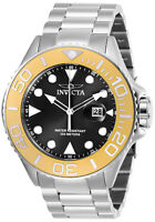Invicta Men's Watch Pro Diver Gold Tone Bezel Black Dial Steel Bracelet 28767