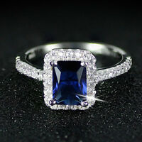 2.25ct Blue Sapphire and Diamond Halo Engagement Ring 14k Solid White Gold