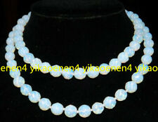 """Pretty Natural 10mm Faceted White Opal Round Beads Gemstone Necklace 36"""" AAA"""