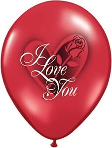 """10pc - 11"""" I Love You Red Rose Latex Balloon Party Decoration Decorator Wedding"""