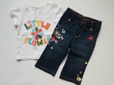 Girls Baby Gap White Flower Shirt Boot Cut Denim Jeans Outfit 12 18 24