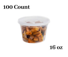 16 oz  100 Count  Plastic Soup Containers with Cutlery