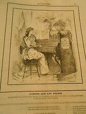 Caricature 1890 - Impôt Pianos la pianiste pourrat jouer avec une pièce de 5 cts