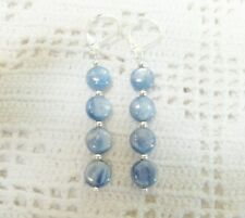 Beautiful 6MM Long Blue Kyanite Earrings in Sterling Silver