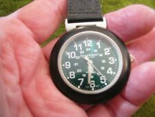 FILED N STREAM BLACK LEATHER CLIP ON WATCH GREEN DIAL RUNS WELL