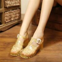 Womens Transparent Block High Heel Crystal Shoes Jelly Sandals Round Toe Hollow