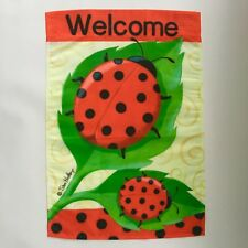 """$7 New """"Welcome"""" Outdoor/Indoor Mini-Flag Red+Blk Ladybugs+Leaves Target 18""""x12"""""""