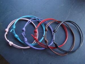 Adjustable 2mm leather cord friendship bracelets black red pink purple grey blue