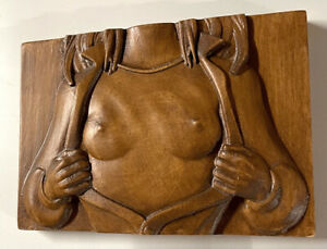 """Wood Carving Nude 5"""" x 7"""" x 1.25""""  Free Standing - Wall Bas-Relief OpenB 01"""