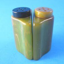 Vintage Marbleized Green Bakelite Salt and Pepper Shakers Curved Half Round