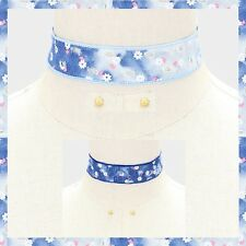 Multi Color Flower Floral Daisy Ripped Hole Destroyed Denim Jean Choker Necklace