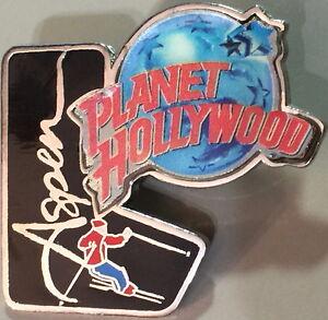 Planet Hollywood ASPEN Skier on Black Boot with Globe Logo PIN Restaurant New!