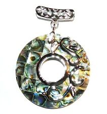 P1878L2 Mosaic Round Donut Abalone Shell 40mm Pendant w Silver Brass Setting