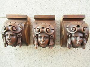 Antique, finely carved women's heads, solid walnut, around 1890/1900