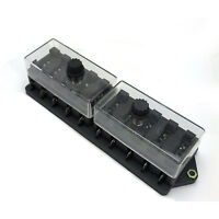10 Way Circuit Standard / Blade Fuse Box / Holder Universal With Cover