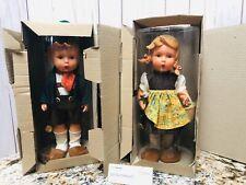 "Mj Hummel Goebel 11"" Dolls (2) Hansl & Gretl Collectible Vinyl Dolls ~ Orig Box"
