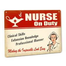 Nurse Sign for Female RN LVN LPN CNA ADN BSN DNP Retro Medical Metal Wall Decor