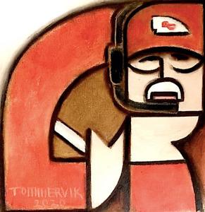 TOMMERVIK ABSTRACT ANDY REID PAINTING FOOTBALL ART POP ARTWORK GEOMETRIC