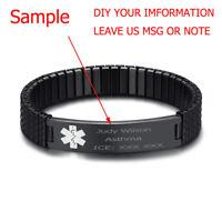 "7"" Spring Stretch Band Men Women Medical Alert ID Bracelet Black DIY Engraving"