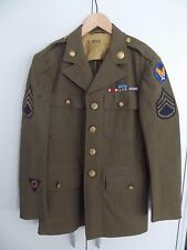 US WWII uniforme chaqueta de 1942 staff-Sargento top con insignia original moh!!!