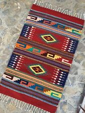 New Authentic Zapotec Oaxacan Hand Woven 24x39 Geometric Floor Wall Tapestry Rug