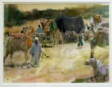 Tom Coates (1941-) original fine art watercolour painting Rest Area Giza Egypt