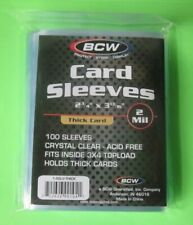 100 Ct  Plastic SOFT  ( 2 Mil )THICK SLEEVES fits Jersey/ Memorabilia Cards  BCW