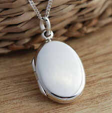 Solid 925 Sterling Silver Oval Plain Photo Locket Pendant Necklace Jewellery Box