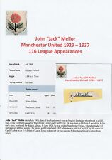 FOOTBALL AUTOGRAPH JACK MELLOR MANCHESTER UNITED 1929-1937 ORIGINAL SIGNATURE
