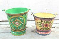 Vintage Handmade Iron Bucket Antique Primitive Garden Decor Bonfire Pail BN-89