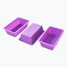 3 Small Loaf Tins Toast Bread Jello Cake Silicone Mold Soap Making 5oz