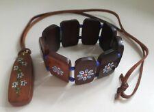 Vintage Wooden Pendant Leather Thong Necklace & Panel Bracelet Blue Paint Flower