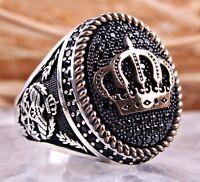 KING Onyx Stone 925 Sterling Silver Turkish Handmade Jewelry Black Mens Ring US