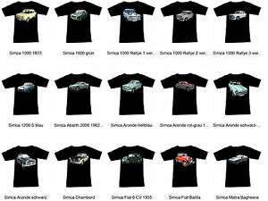 T-Shirt Avec Simca Automotive - Fruit of the Loom S M L XL 2XL 3XL
