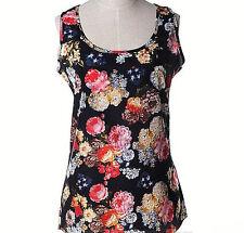 Sleeveless Chiffon Floral Shirt Sz M Tank Top Womens Fashion Summer Layering